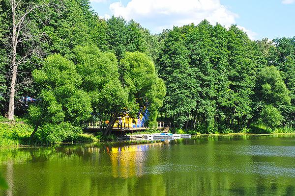 Вид с летнего кафе на пруды